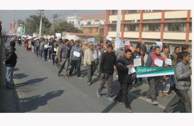 Mass Rally by Road Extension Affected Struggle Committee