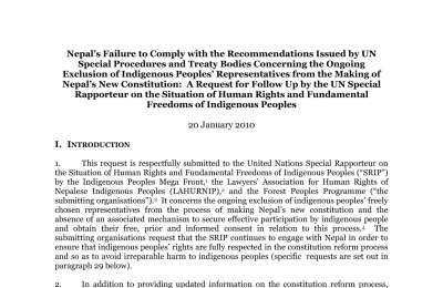 A Request for Follow Up by the UN Special Rapporteur