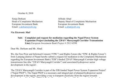 Complaint Submitted by FPIC and Rights Forum from Lamjung to Complaints Mechanism of the EIB.