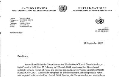 Early warning letter by the CERD 1st
