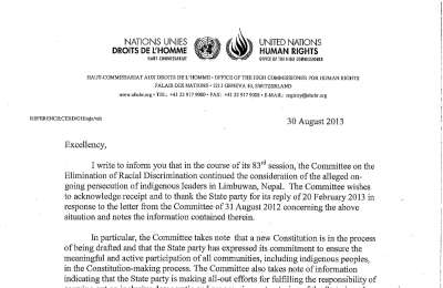 Early warning letter by the CERD, constitution making process