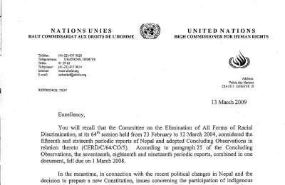 Early warning letter by the CERD