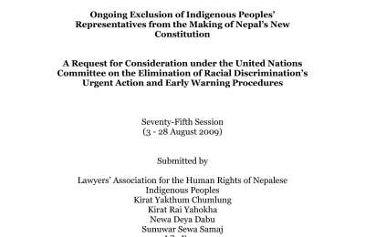 Ongoing Exclusion of Indigenous Peoples' Representatives from the Making of Nepal's New Constitution