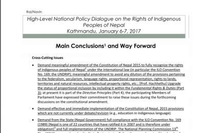 Main Conclusion High Level National Policy Dialogue on Rights of Indigenous Peoples_ENG